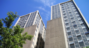 View of University Towers Apartments from street