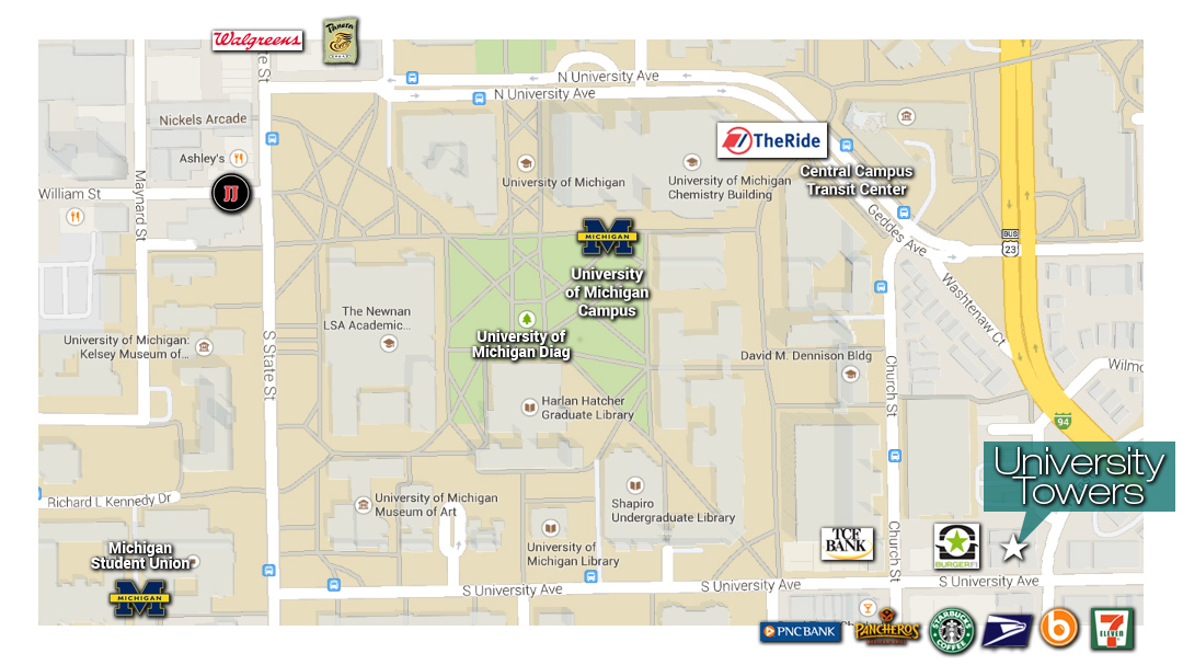 University Towers apartments on a map showing University of Michigan Ann Arbor